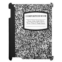 Custom Composition Book Black/White School/Teacher iPad Case