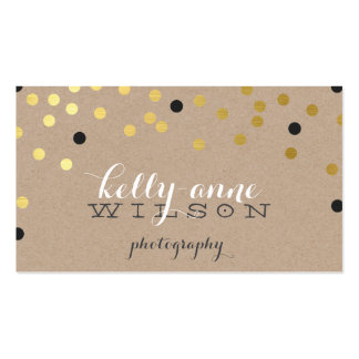 CUSTOM CONFETTI GLAMOROUS gold foil spot kraft Business Card