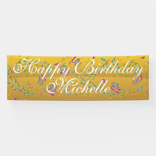 Custom Confetti Happy Birthday Name Banner