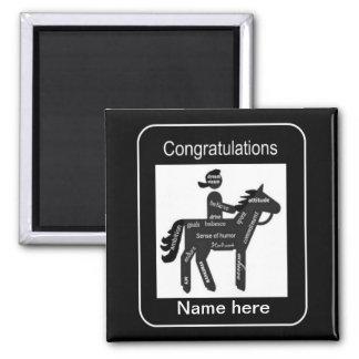 Custom, Congratulations, Equestrian, Horse Event, 2 Inch Square Magnet
