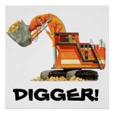 Custom Construction Kids Orange Digger Poster