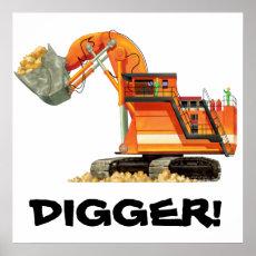 Custom Construction Kids Orange Digger Poster