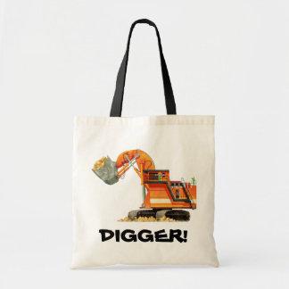 Custom Construction Truck - Orange Digger Tote Bag