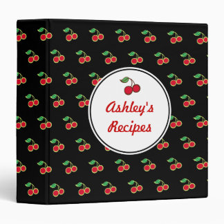 Custom Cookbook Retro Cherry Recipe Binder Gift