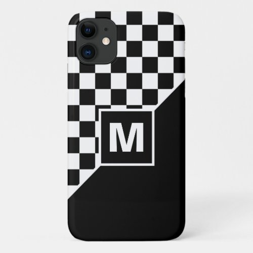Custom Cool Black And White Checkered Flag Pattern Phone Case