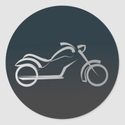 Custom Cool Silver Motorcycle Frame Black Classic Round Sticker