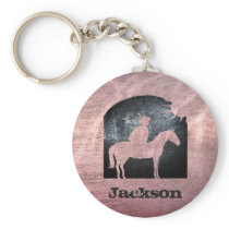 Custom Copper Steel Metal Horse Vintage Cowboy Keychain