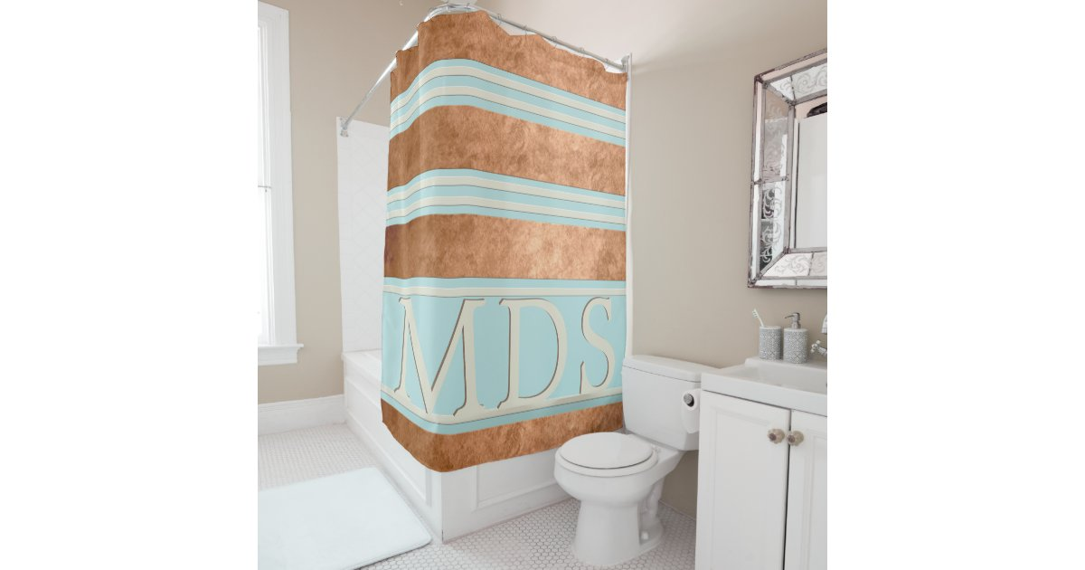 Custom Copper Stripe Robin Egg Blue Shower Curtain