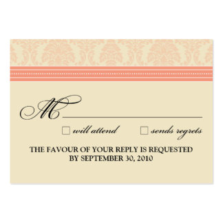":custom: Coral/Cream Damask 3.5""x2.5"" RSVP Card Large Business Cards (Pack Of 100)"