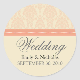 :custom: Coral/Cream Damask Wedding Invite Seal Sticker
