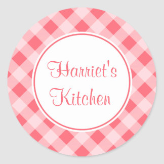 Custom Coral Gingham Kitchen Stickers