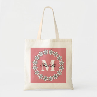 Custom coral pink floral bridesmaid tote bag
