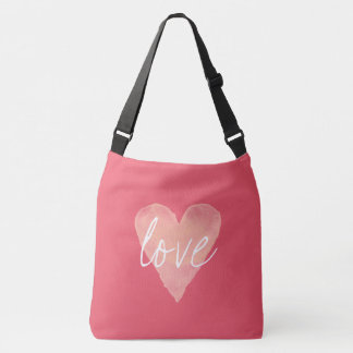Custom coral pink love heart large cross body bag