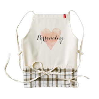 Custom coral pink watercolor heart apron for women