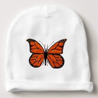 Custom Cotton Baby Beanie with Monarch Butterfly