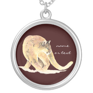 Custom  Cougar, Puma, Mountain Lion, Animal Silver Plated Necklace