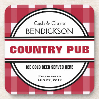 Custom Country Couple Red Gingham Pub Sign Coaster