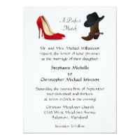 Custom Country Cowboy Boots High Heels Wedding Card