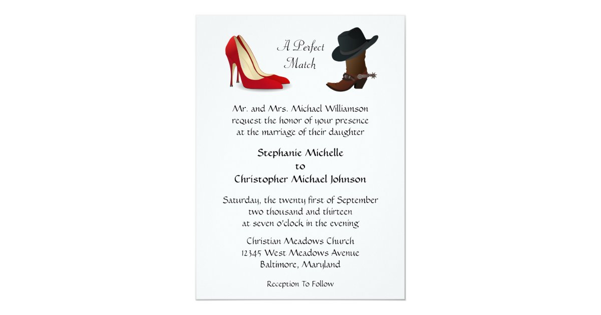 Boots Wedding Invitations: Custom Country Cowboy Boots High Heels Wedding Invitation
