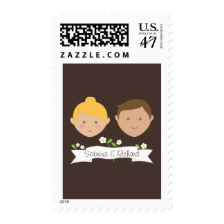Custom Couple (Blonde / Brunette) Wedding Postage