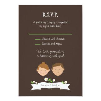 "Custom Couple Portrait Illustration Wedding RSVP 3.5"" X 5"" Invitation Card"