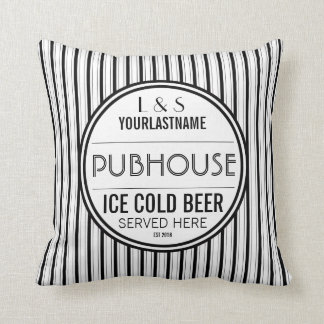 Custom Couple Pubhouse Beer Served Here Throw Pillow