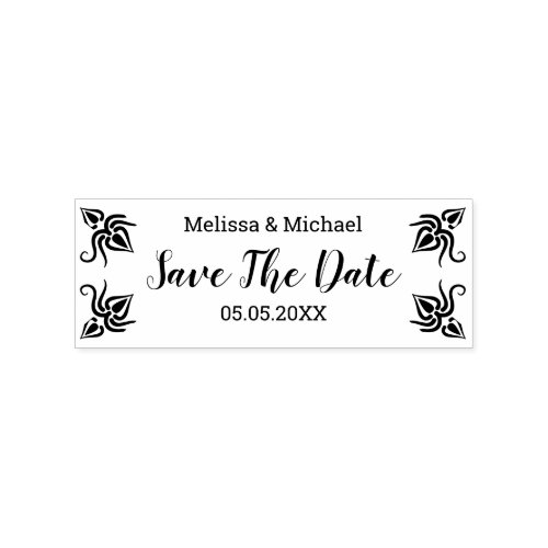Custom Couple Save The Date Rubber Stamp