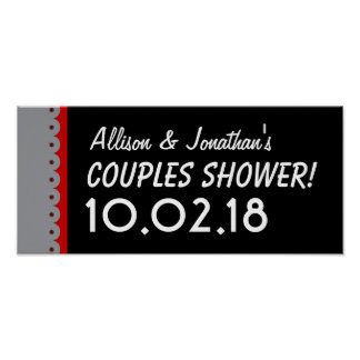Custom COUPLES SHOWER or Any Year RED BLACK V01 Poster