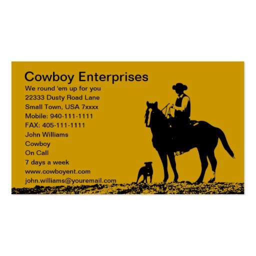 Custom Cowboy Business Cards Customize for you