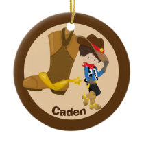 Custom Cowboy Kid Ceramic Ornament