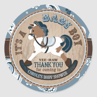 Custom Cowboy Rocking Horse Western Baby Shower Classic Round Sticker