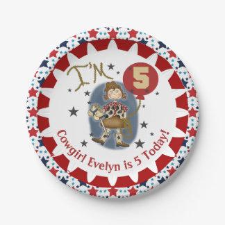 Custom Cowgirl 5th Happy Birthday Paper Plate