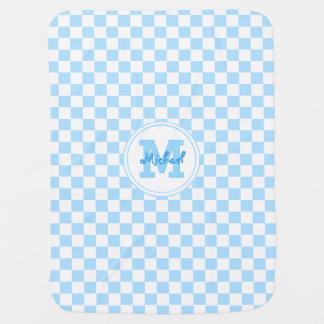 Custom Cozy Baby Blue Check Pattern Monogram Name Swaddle Blanket