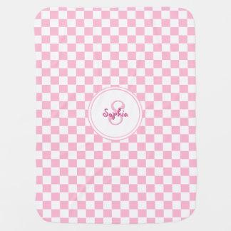Custom Cozy Baby Pink Check Pattern Monogram Name Receiving Blanket