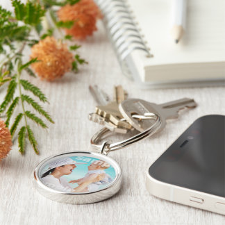 Custom Create Your Own Personalized Silver-Colored Round Keychain