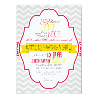 Custom crimson gold chevron baby shower card