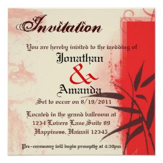 "Custom Crimson Vintage Invitation 5.25"" Square Invitation Card"