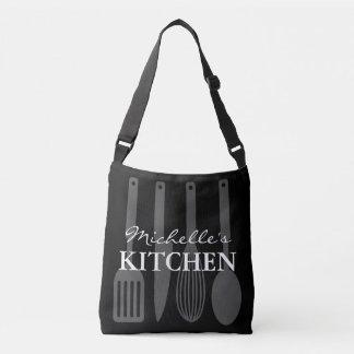 Custom cross body bag with kitchen utensils design