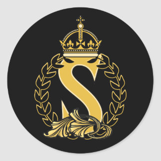 Custom Crown Monogram - S Classic Round Sticker