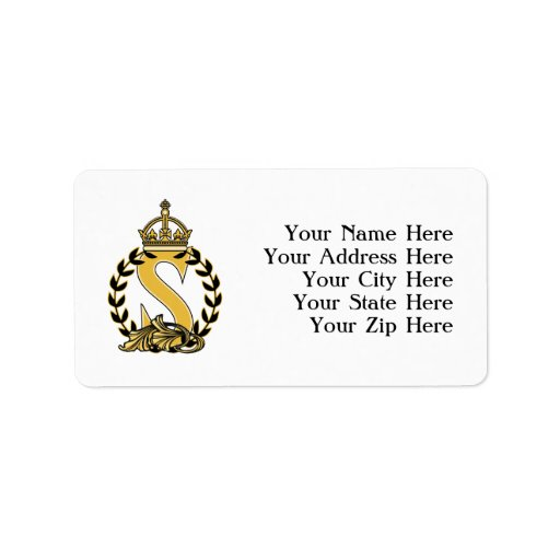 Custom Crown Monogram - S Custom Address Labels