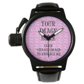 Custom Crown Protector Black Leather Wrist Watch ~