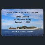 "Custom Cruise Cabin Door Marker | Cruise Ships Magnet<br><div class=""desc"">This cruise ship vacation stateroom marker magnet is completely personalized, including the group cruise name, ship itinerary details, name of cruise ship, and sailing dates. Personalized names in cabin at bottom. Against a beautiful photo of two cruise ships side by side in the deep blue ocean with a puffy clouds...</div>"