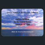 "Custom Cruise Cabin Door Marker | Ocean Sunset Magnet<br><div class=""desc"">This cruise ship vacation stateroom marker magnet is completely personalized with the group cruise name, ship itinerary details, including the cruise ship name and sailing dates. Personalized names at bottom. Against a beautiful nature photo of a colorful ocean sunset with purple blue and pink cloudy sky. Completely customizable for any...</div>"