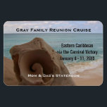 "Custom Cruise Cabin Door Marker | Seashell Beach Magnet<br><div class=""desc"">This tropical cruise vacation stateroom marker magnet is completely personalized with the group&#39;s name, ship itinerary, including cruise ship name and sailing dates. Personalized names of cabin residents at bottom. Against a beautiful beach photo of a closeup conch shell with turquoise beach waves and sand with cloudy sky in the...</div>"