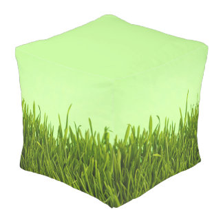 Custom Cubed Pouf with green grass