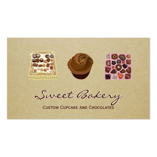 Custom Cupcake Chocolates Bakery Store Business Card Template (front side)