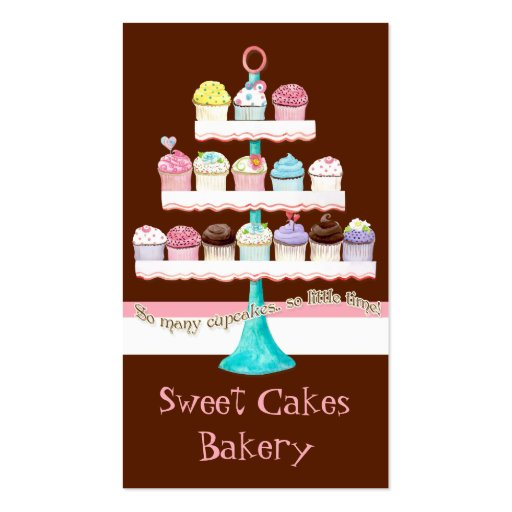 Custom Cupcake Sweet Shoppe Business Cards (front side)