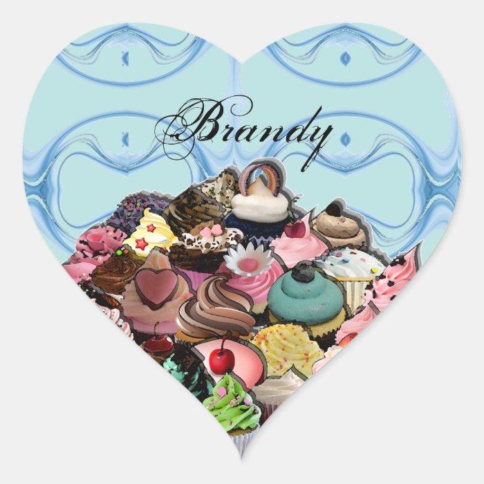 Custom Cupcakes Design (Blue) Heart Sticker