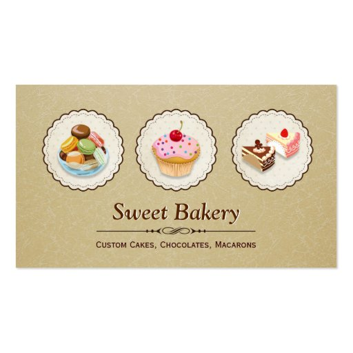 Custom Cupcakes Macaroons Dessert Bakery Store Business Card Templates (front side)