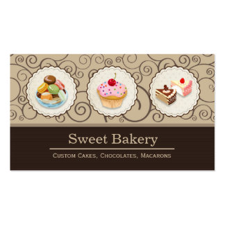 Custom Cupcakes Macaroons Dessert Bakery Store Double-Sided Standard Business Cards (Pack Of 100)
